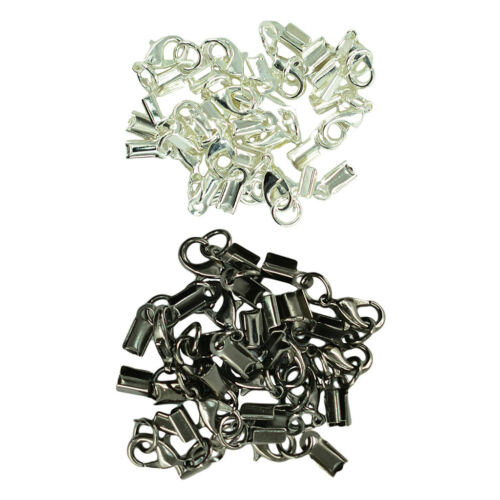 24 Sets Fold Over Cord End Crimp Caps with Lobster Hook Jewelry Making Clasp