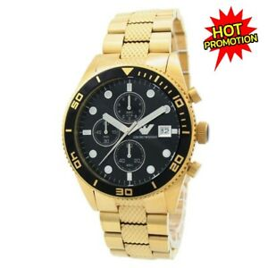 NEW-EMPORIO-ARMANI-AR5857-GOLD-STAINLESS-STEEL-CHRONOGRAPH-MEN-039-S-WATCH