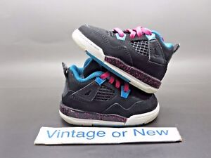 0d0afa9e18a1 Girls Nike Air Jordan IV 4 Black Vivid Pink Dynamic Blue Retro TD ...
