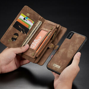 low priced e163c 5d72e Details about Leather Wallet Case Zipper Purse Detachable Magnetic Cover  For iPhone XS Max 7 8