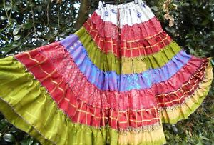 INDIAN-SARI-SILK-MIX-PATCHWORK-VERY-FULL-TIERED-MAXI-GYPSY-SKIRT-SZ-12-14-16