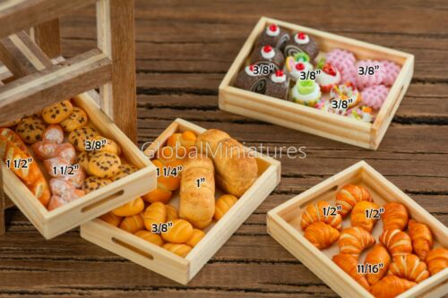 Dollhouse Miniatures Assortment of Bakery and Pastry on Wooden Baking Tray