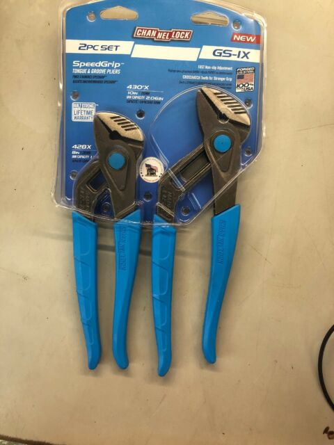 """NEW Channellock GS-IX 2pc Speedgrip Tongue /& Groove Pliers Set 8/"""" /&10/"""" USA MADE"""
