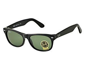 75ef8c1a57 Ray-Ban New Wayfarer Shiny Black Frame Green Classic G-15 Lens ...