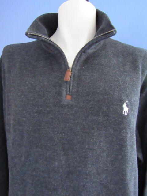 45f8a849b59 Polo Ralph Lauren Men s Half Zip French Rib Cotton Sweater All Sizes ...