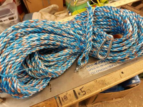 100FT x 10mm diam. ROPE ANCHOR BOAT MOORING + SNAP HOOK & SHACKLE NEW STRONG