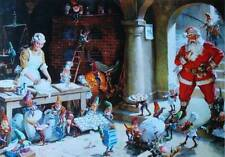 Vintage Mrs Claus and elves Baking Cookies Santa