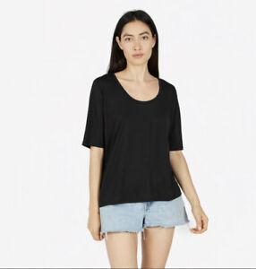 Everlane Luxe Drape Cropped Scoop Neck Short Sleeve Tee Black XS $35