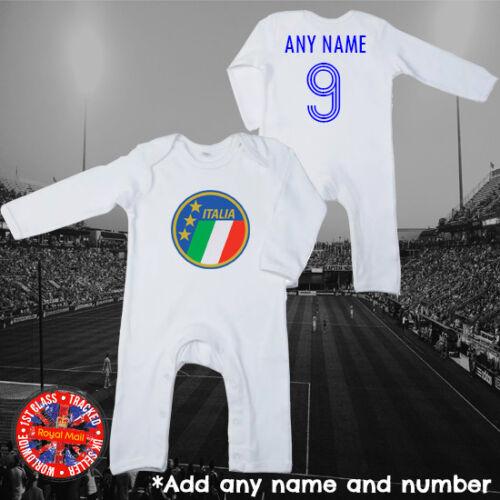 Italia Inspired Personalised Rompersuit Long Sleeve Babygrow Italy Gift