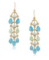Carolee 'niagra Mist' Blue Green Gold-tone Beaded Linear Drop Earrings