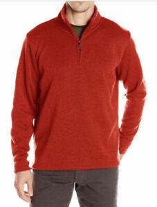 Men-039-s-Wrangler-Quarter-Zip-Fleece-Pullover-Groesse-2xl-3xl-Sweatshirt-Top-Rost