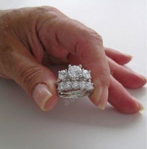 4.00t White Round Cut Diamond Engagement Ring Half Eternity Band Set 925 Silver