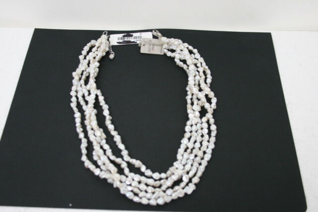 Cultured Freshwater Pearl Necklace with Sterling Silver Clasp 21 Inches 5 strand