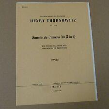 Cámara Grabadora Henry thornowitz da Sonata Nº 5 en G, Dawes, puntuación + parte Schott