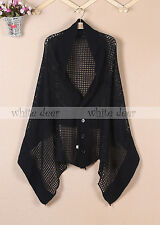 Women's Knit Scarf Shawl Cardigan Dual Use Button Fishnet Black White Gray Red