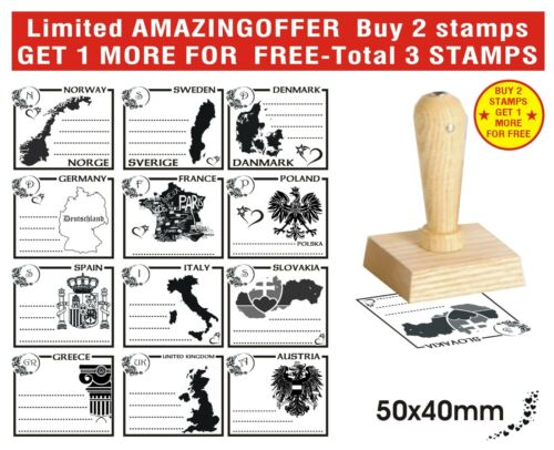 Wooden Rubber Stamp NO Self Ink pad Wish Love Countries Hello Texts 40x50mm View