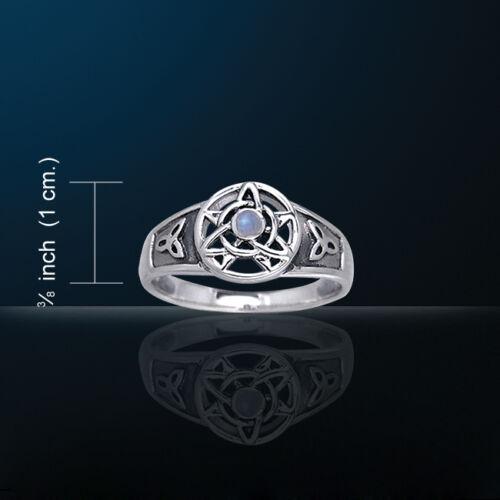 Druid White Bronze Triquetra Ring WZRI058 Rainbow Moonstone