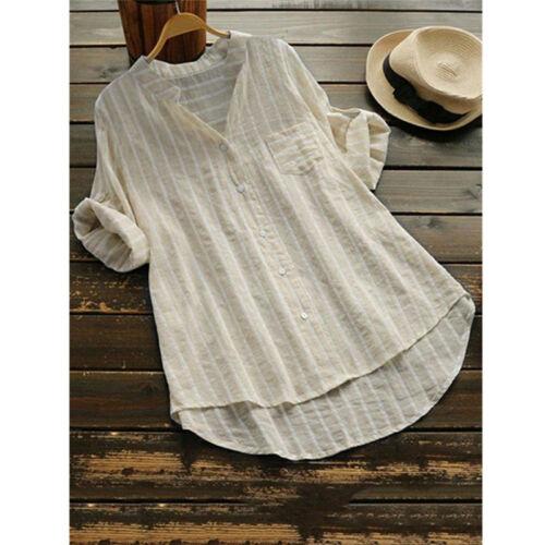 Damen V-Ausschnitt Gestreift Bluse Langarmshirt Tunika Übergröße Sommer Longtop