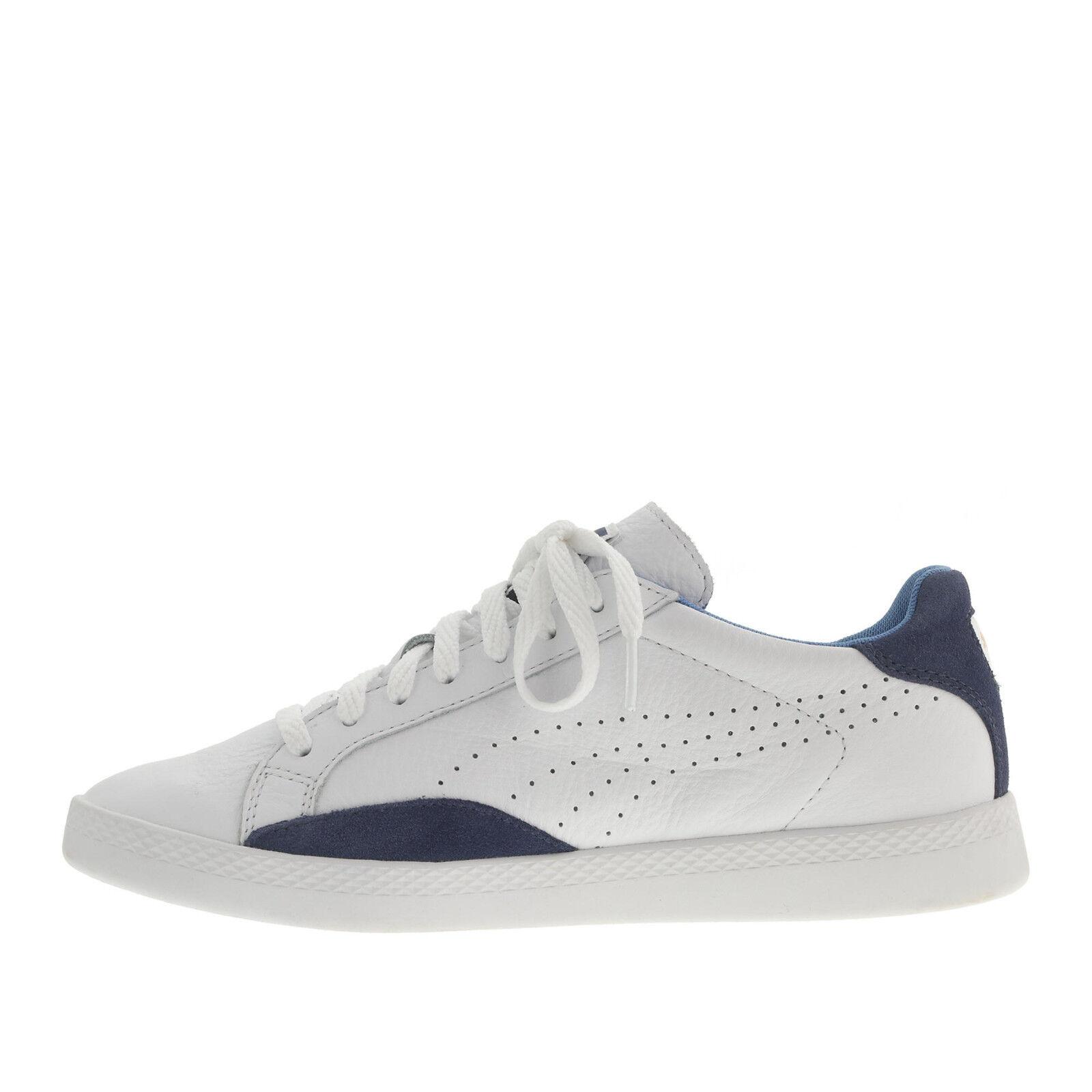 NIB Leder Puma Match Niedrig Sneakers 6.5 Damens Schuhes Leder NIB Sneakers Weiß Navy Blau dfc81e