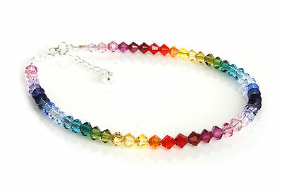 .925 Sterling Silver Crystals Rainbow Anklet made with SWAROVSKI ELEMENTS