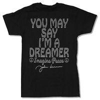 John Lennon you May Say... Black T-shirt Official Adult Beatles Imagine