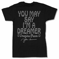 John Lennon you May Say... Black T-shirt Official Adult Beatles Imagine