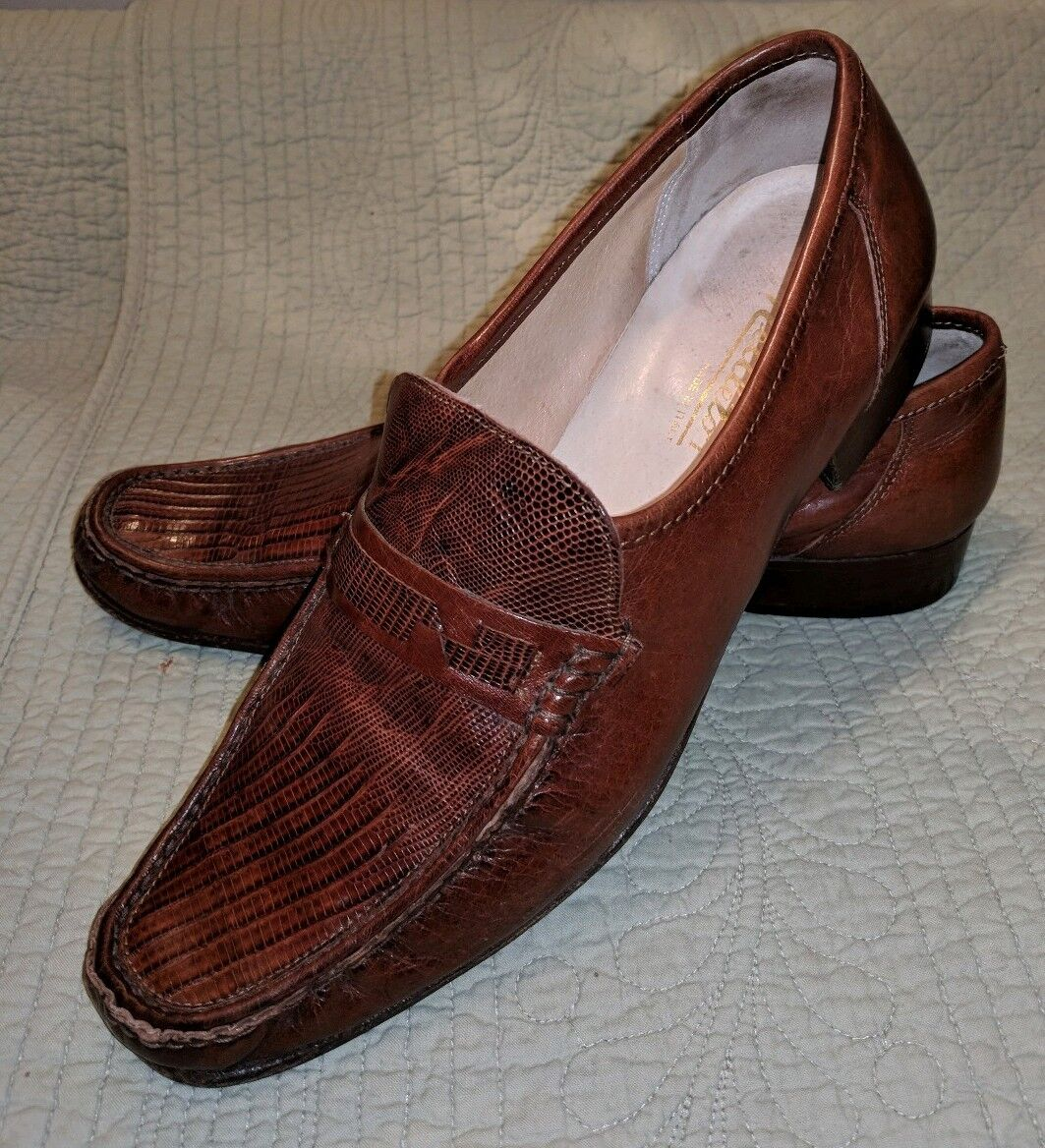 VINTAGE NETTLETON ITALY AUTH LIZARD SKIN LOAFERS SLIP ON SHOES BROWN REPTILE 11