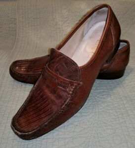 e4b2feb6f07 VINTAGE NETTLETON ITALY AUTH LIZARD SKIN LOAFERS SLIP ON SHOES BROWN ...