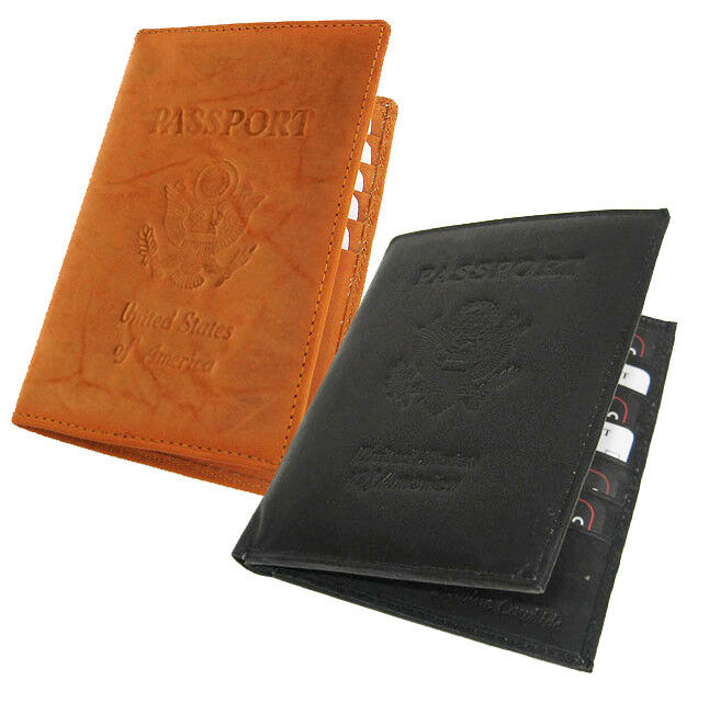 United States Of America PASSPORT COWHIDE LEATHER COVER Travel 8+ Card Case Men Wallet New - s l1600