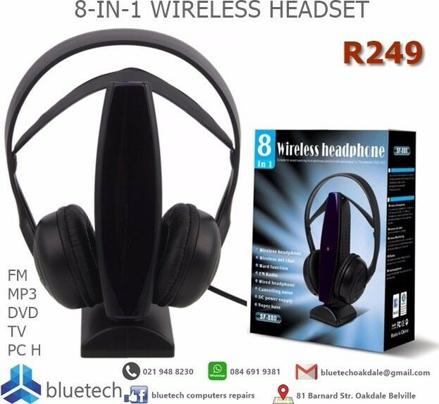 8-IN-1 WIRELESS HEADSET+FM HEADPHONE FOR MP3 DVD TV PC, Bluetech Computers