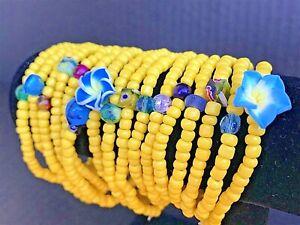 Yellow-Stretch-Bracelets-Lot-Of-16-Handmade-In-The-U-S-NEW