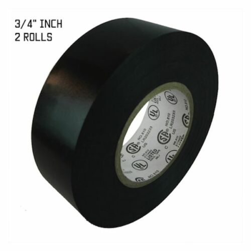 """TapesSupply 2 Rolls Black Electrical Tape 3//4/"""" x 60 ft"""