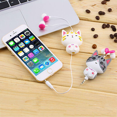 1pc Cartoon Retractable In-Ear Earbud Earphones For Mobile Phone Computer FM