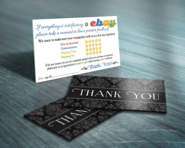 Must haves collection on ebay 150 thank you ebay seller business cards elegant 5 five star rating professional reheart Gallery