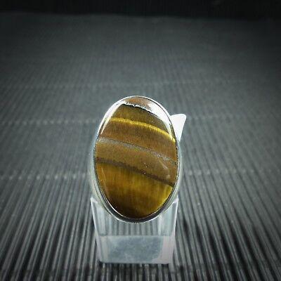Ring Gr. 56, Silber 925, Mit Einem Tigerauge Cabochon Aus Indien Lassen Sie Unsere Waren In Die Welt Gehen