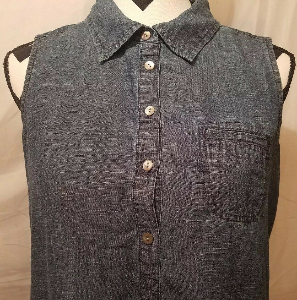 J Jill Womans Linen Blend Tunic Blue Denim Dress Sleeveless Size PM