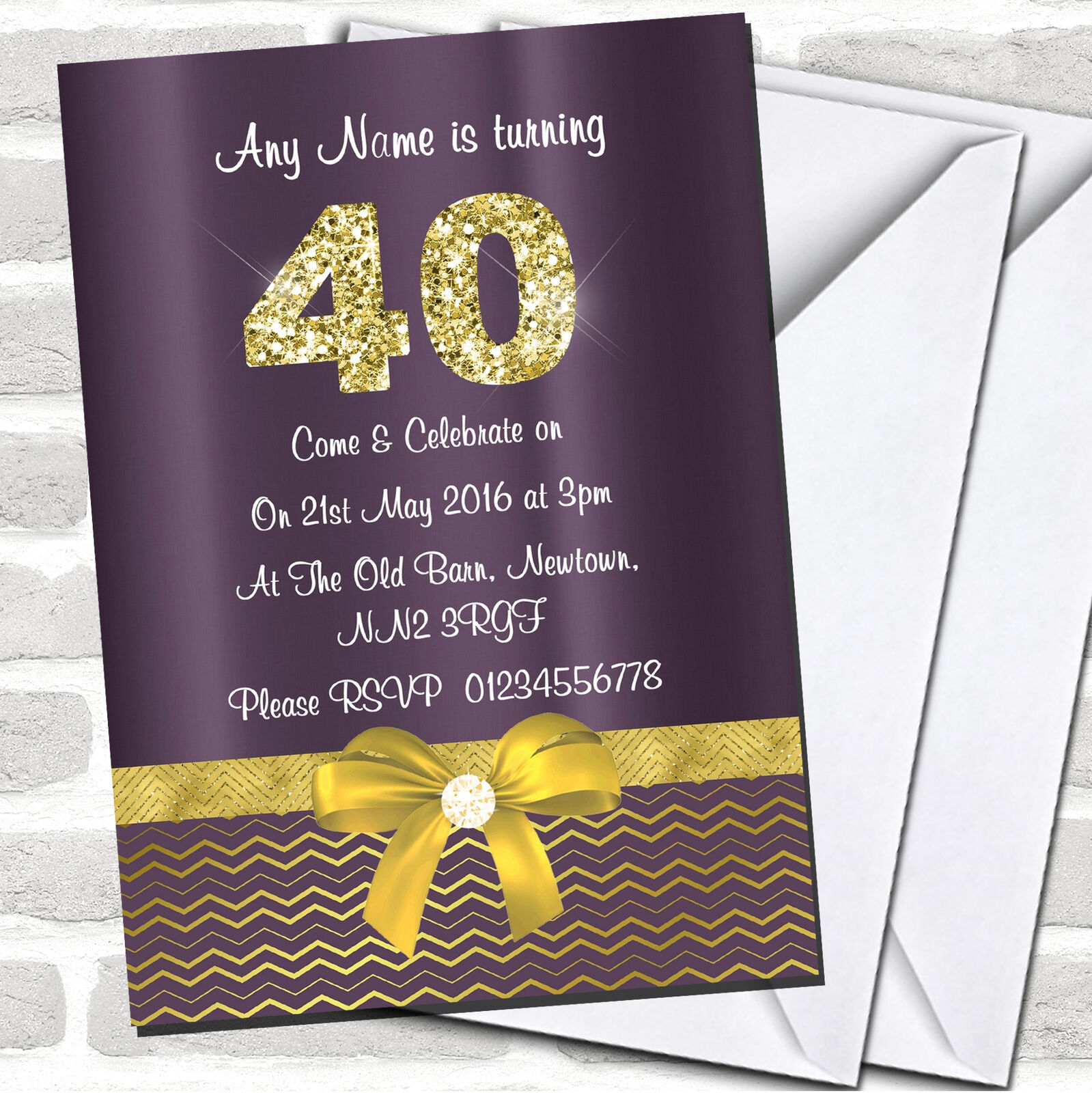 lila Satin And Gold Bow 40Th Birthday Party Invitations