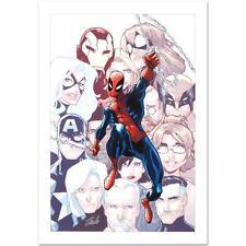 STAN LEE signed SPIDER-MAN Marvel ORIGINAL COMIC Artworks CANVAS Humberto Ramos