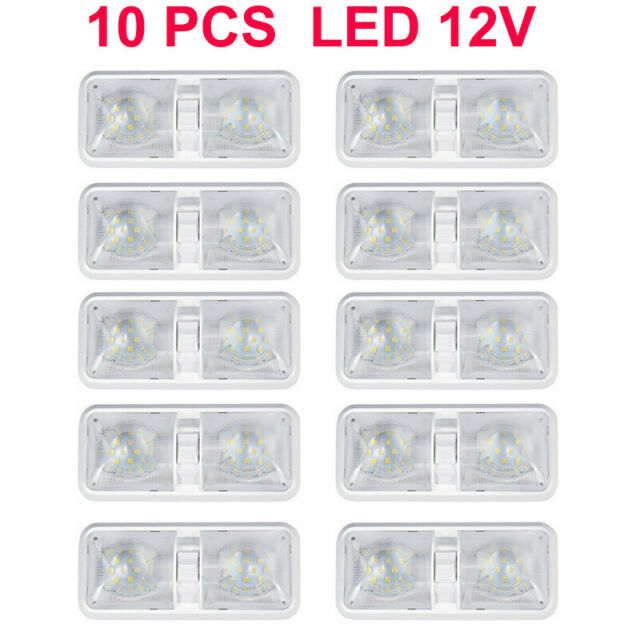 10pcs  LED RV Interior Led Ceiling Light Boat Camper Trailer double Dome 12V