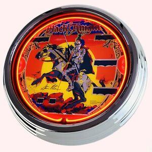 N-0707-Reloj-de-Pared-034-Pinball-Negro-Knight-Williams-1980-Neonuhr-Cocina-Salon