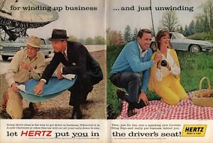 1963-2-PAGE-ORIGINAL-VINTAGE-CENTERFOLD-HERTZ-CAR-RENTAL-MAGAZINE-AD