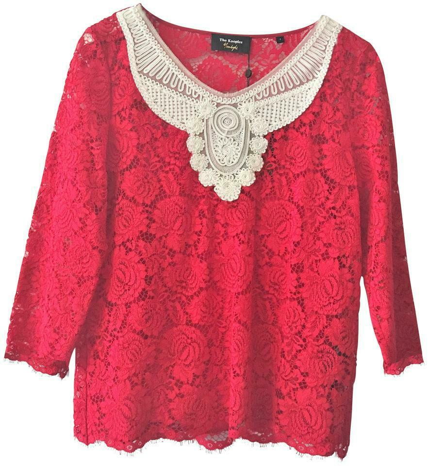 The Kooples rot Weiß Lace Blouse  Größe  2 (XS) New NWT