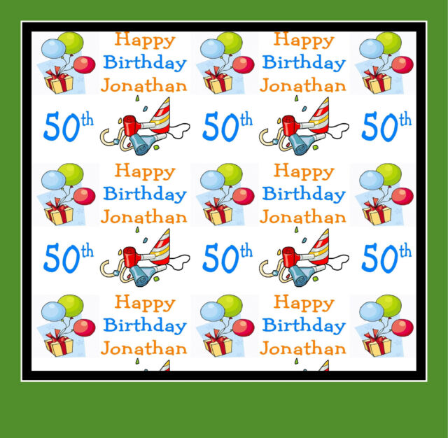 50th Birthday Gift Wrapping Paper PERSONALISED Any Name