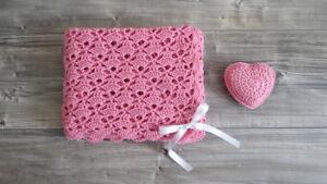 Copertina Neonata Rosa Con Cuore Ad Uncinetto 100 Cotone Regalo