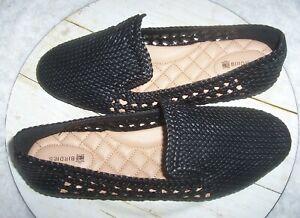 Birdies-034-Starling-034-Flats-in-Seasonal-Black-Woven-Vegan-Leather-9-5-Comfort-Shoes