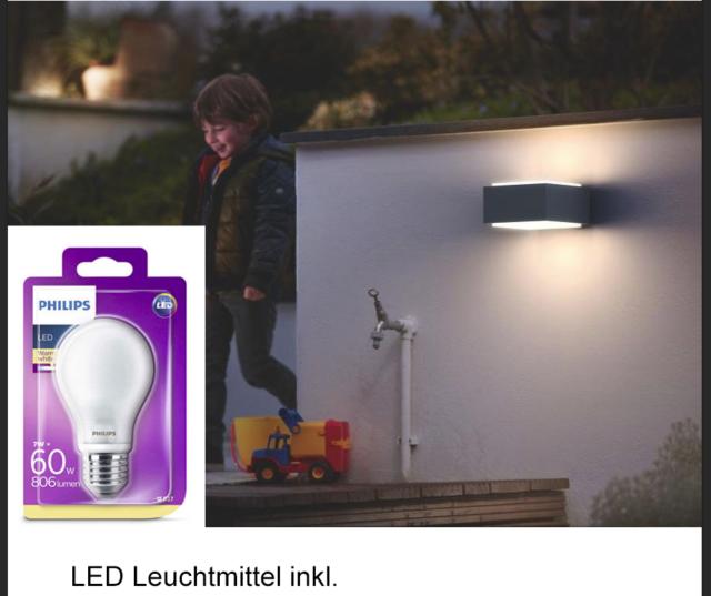 Philips MyGarden LED Wandaussenleuchte Hedgehog, anthrazit mit LED Lampe
