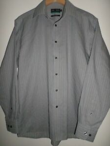 MARKS-amp-SPENCER-ULTIMATE-NON-IRON-PURE-COTTON-GREY-STRIPED-SHIRT-SIZE-15-5-034-39