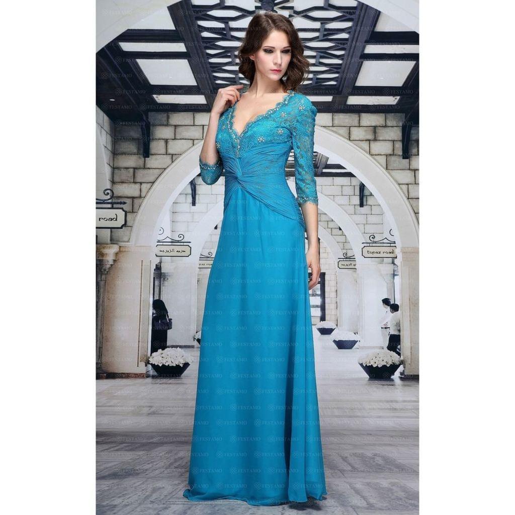 Abendkleid Ballkleid Hochzeitskleid Kleid von Festamo in Türkis, Gr. 32 34 36 38