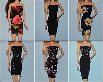 Assorted Lot of Black Unique Dresses w// Shiny Diamond Print for BARBIE