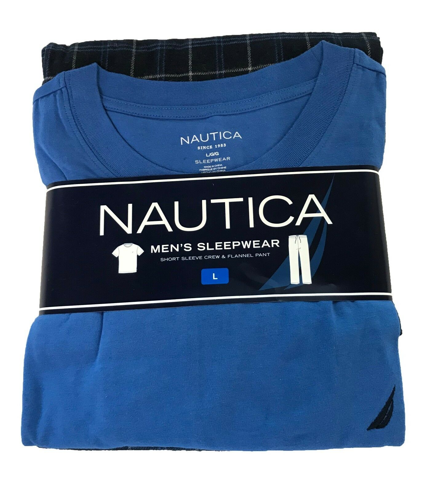 Nautica Mens Pajama Set Crew Tee Shirt Pants Navy Blue Green Size Extra Large XL